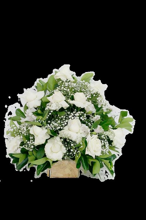 Arranjos de Rosas Brancas - 1 dúzia