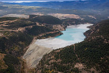 Aerial view of Copper Mine Tailing pond