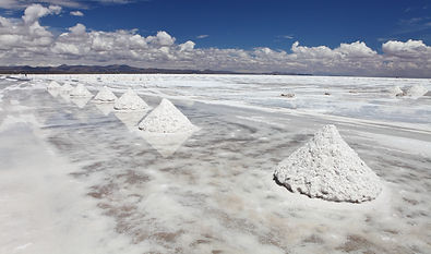 Piles of salt on the surface of the Sala