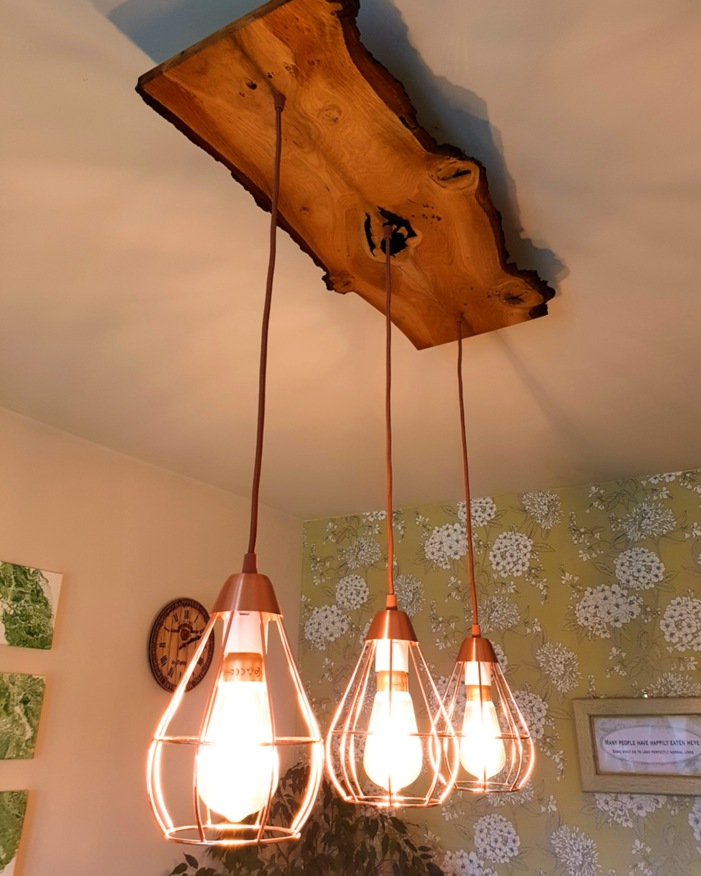 European Oak Bur Dining Light