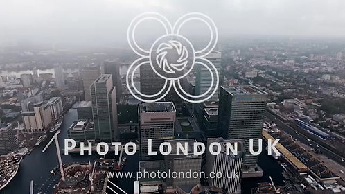 4K Canary Wharf Towers And Buildings In London Overhead Aerial Shot