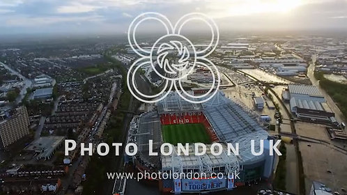 Aerial View Of Iconic Manchester United Stadium Old Trafford