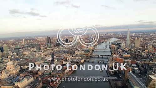 4K Helicopter Flight Of London Skyline Famous Skyscrapers And St Pauls Cathedral