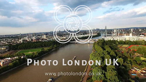 Battersea Park And Thames River Aerial Footage In Central London