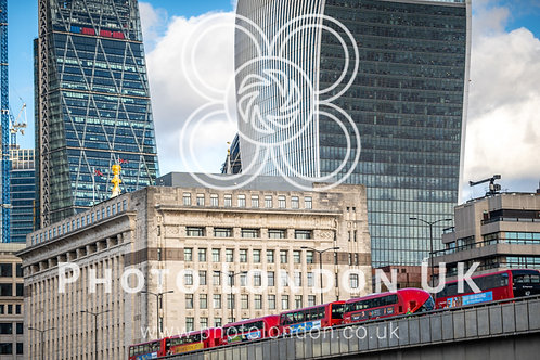 Famous London Office Buildings And Red Buses
