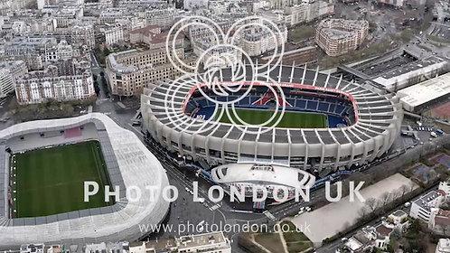 Aerial View Of Le Parc Des Princes And Stade Jean Bouin Stadium Paris