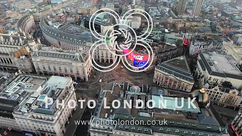 Aerial Stock Footage Orbiting Piccadilly Circus London, England 4K