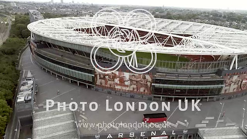 Flying By Aerial View Emirates Football Stadium Of Arsenal Football Club 4K