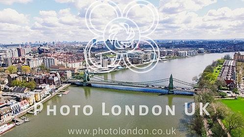 Aerial 4K Urban View Photo Of Hammersmith Bridge In City Of London