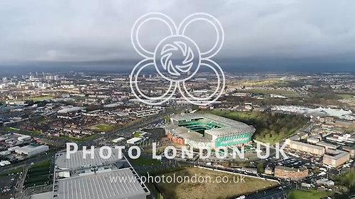 Aerial View Of Celtic Park Fc Stadium Arena In Glasgow 4K