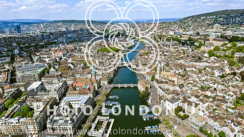 Flying Over The City Of Zurich In Switzerland Aerial View Photo