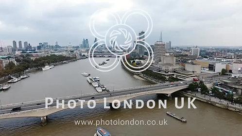 Aerial Panoramic View Of Southbank And Waterloo Bridge In London