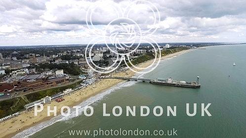 Beautiful Aerial View Of Bournemouth Beach Seaside