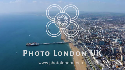 Flying Over City Of Brighton Hove And English Channel In The UK
