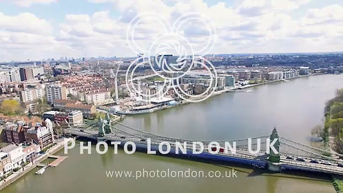Aerial 4K Urban View Of River And Bridge In City Of London