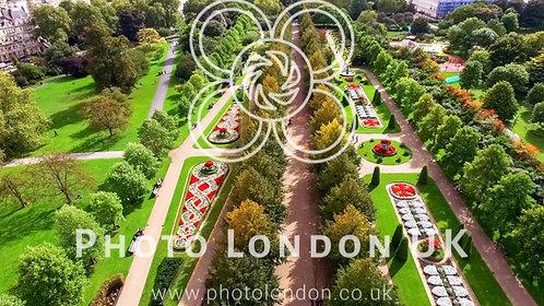 Beautiful Elegant The Regent's Park Gardens Aerial View In London