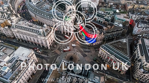 London's Iconic Famous Square Piccadilly Circus Aerial View