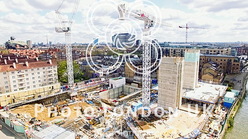 Aerial View Of A Construction Site Cranes