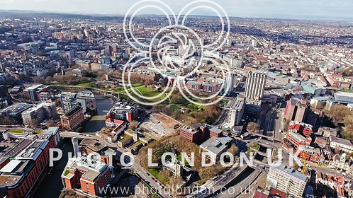 Aerial View Of Bristol City Center In England, Uk
