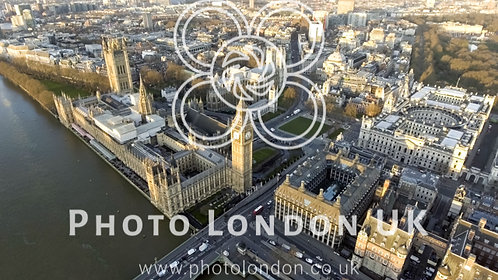 London Aerial Cityscape With Landmarks Thames, Big Ben Clock Tower