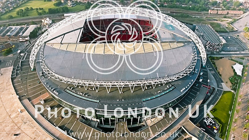 Wembley Stadium In London. Aerial View Photo Flying Over Iconic Football Arena