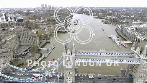 Aerial Bird Eye View Of Tower Bridge In Central London, UK