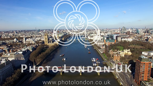 Aerial View Of Central London Big Ben Clock Tower Parliament And Eye Wheel