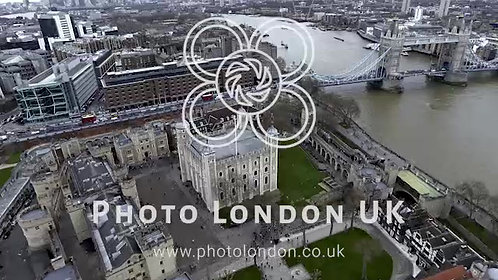 Aerial View Flying Over Tower Hill In London 4K