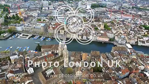 Helicopter View Aerial Video Of Zurich Landmarks In City Center Town Hall