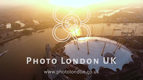 Aerial Footage Video Flying By London O2 Arena Concert Hall At Sunrise