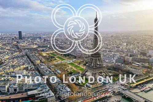 Beautiful Paris Aerial Panoramic Cityscape View