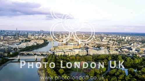 Aerial View Of Battersea Power Station And Park In London Feat Chelsea Bridge