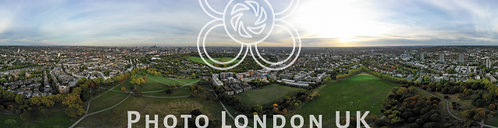 Aerial View 360 Panorama London Cityscape With Residential Neighborhood