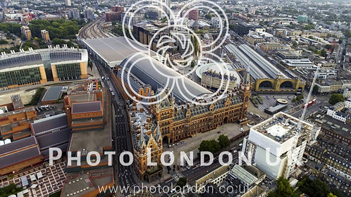 Aerial View Of Kings Cross And St Pancras Railway Stations In London, Uk