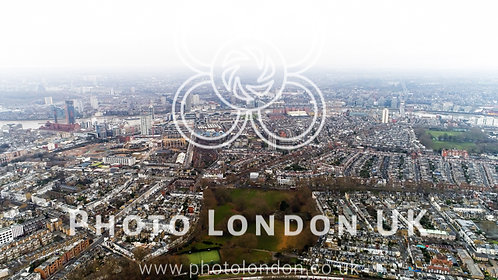 Aerial View Of Chelsea Fulham And Parsons Green In London City Skyline