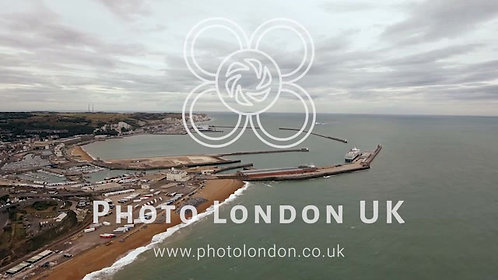 Beautiful Dover Coastline, English Harbor Aerial View 4K