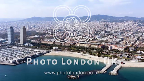 Aerial View Of Barcelona Skyline In Spain's Catalonia