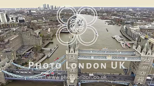 Flying Over Tower Bridge And River Thames In London 4K