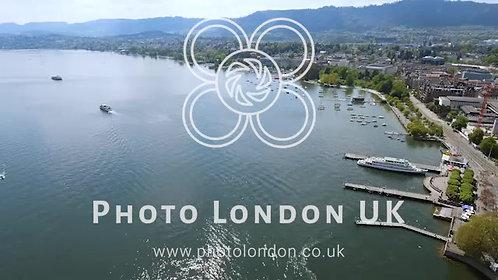 Aerial Video Of Lake Zurich In Switzerland