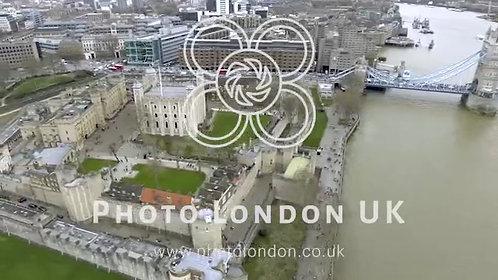4K Cinematic Panoramic Aerial View Tower Bridge And Tower Of London