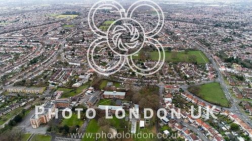 Aerial View Of Twickenham Suburban Neighborhood In London