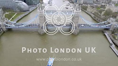 4K Aerial Birds View Tower Bridge Crosses The River Thames