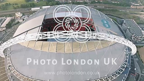 Flying Over And Looking Down At Wembley Stadium In London Aerial 4K Uhd Footage