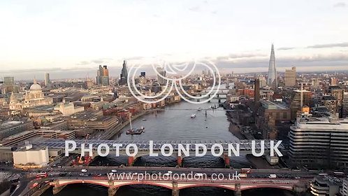 4K London City Aerial Helicopter Flight Urban Skyline