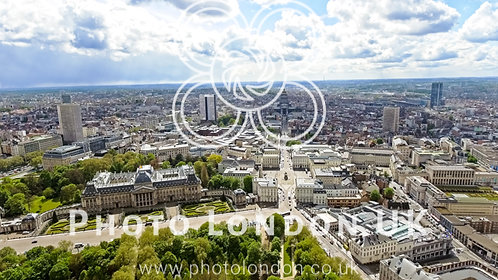 Aerial View Of The Royal Palace Of Brussels And The City Town Center In Belgium