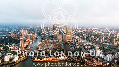 Aerial View Of Iconic Canary Wharf Financial District Skyscrapers In London
