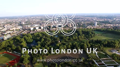 Aerial View London Outdoor Flying Over Above Battersea Park