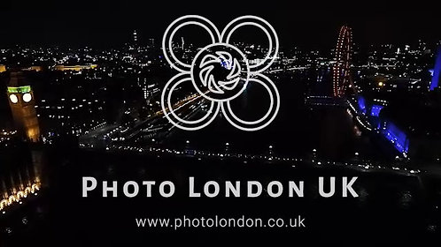 Aerial View London Landmarks At Night