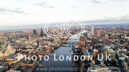 Helicopter View Of London Skyline Famous Skyscrapers And St Pauls Cathedral