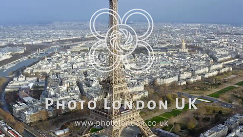 Aerial View Eiffel Tower World's Most Iconic Monument In Paris, France